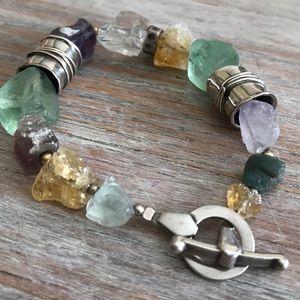 Semi-precious (rough) & sterling silver bracelet